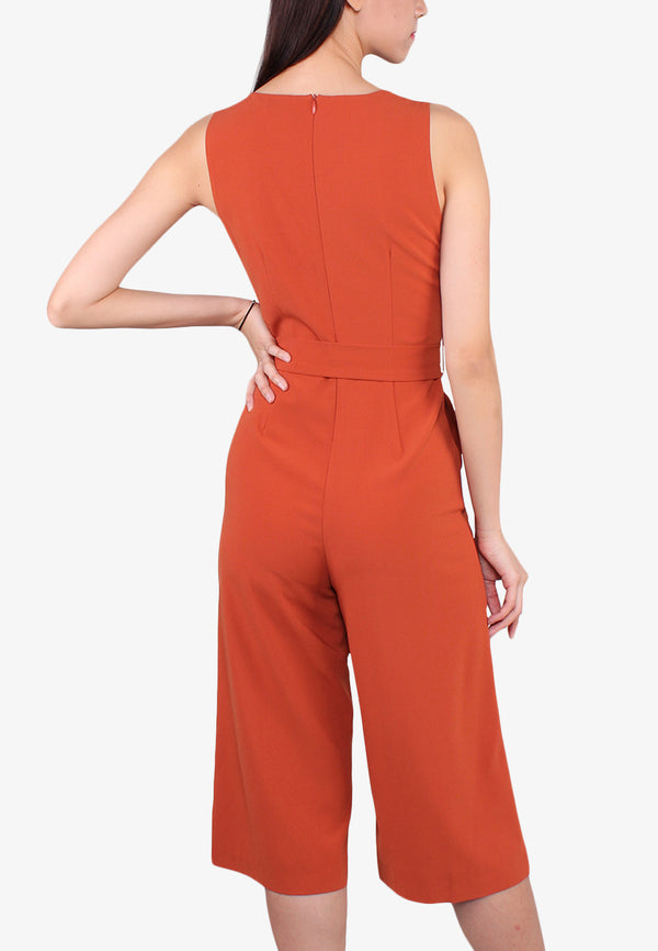 V Neck Tied Waist Jumpsuit