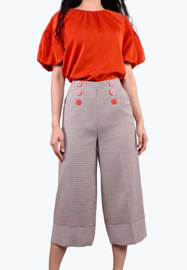 ELLE Stretchable Hi-Waist Bold Hem Plaid Pants