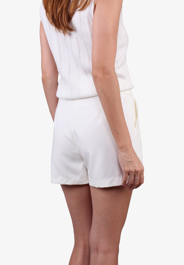 ELLE Golden Round Circle White Skort