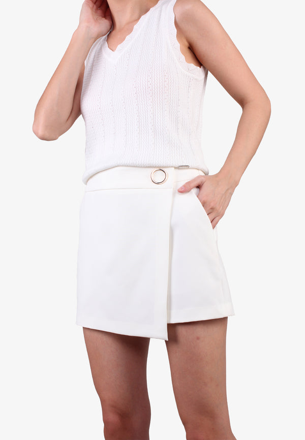 Golden Round Circle White Skort