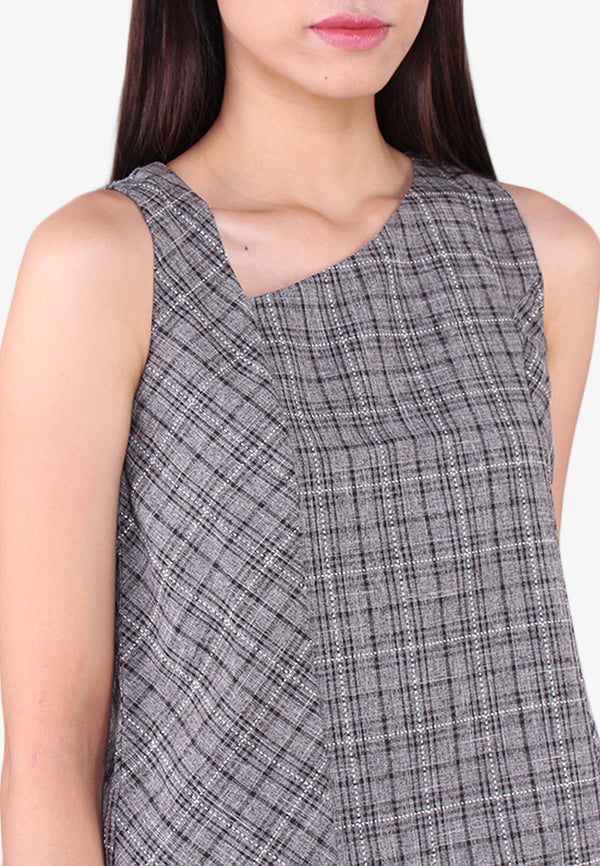 V Neckline Checks Tank Top