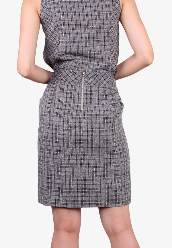 Checks Front Pleat Skirt