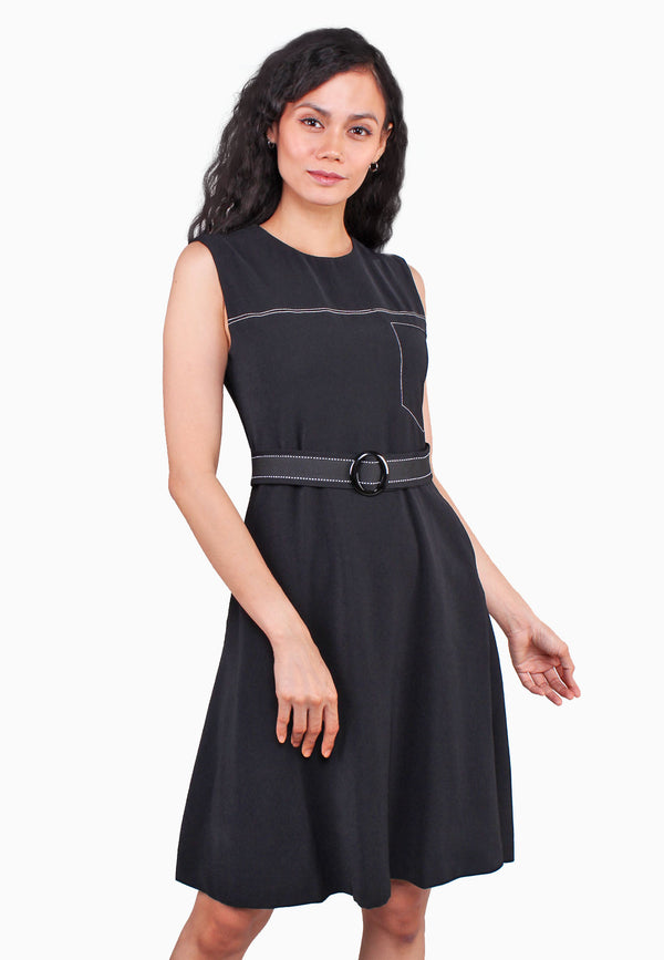 ELLE Contrast Outline Flare Dress