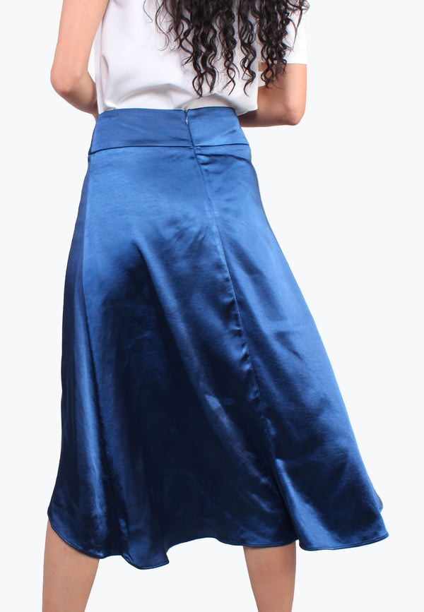Satin Asymmetrical Overlap Pleated Hem Skirt