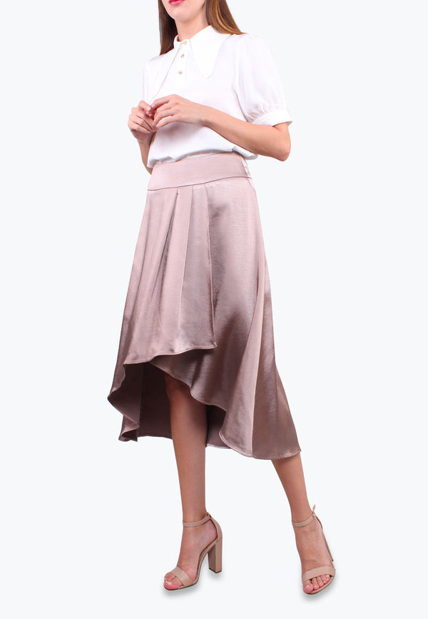 ELLE Satin Asymmetrical Overlap Pleated Hem Skirt