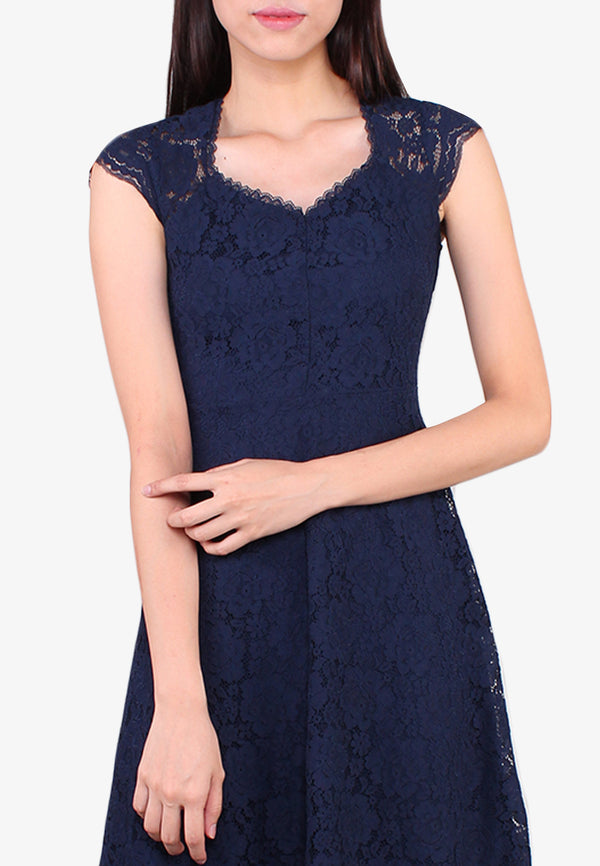 ELLE Sweetheart Lace Fit Flare Dress