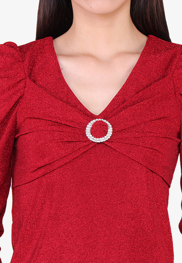 Lurex Diamante Buckle Knit Top