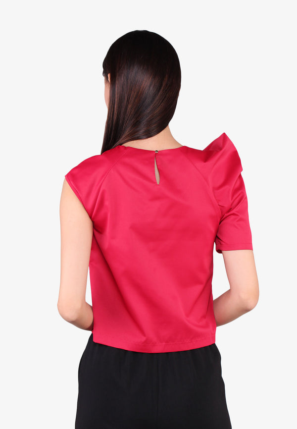 One-Sided Voluminous Puffed Sleeves Blouse