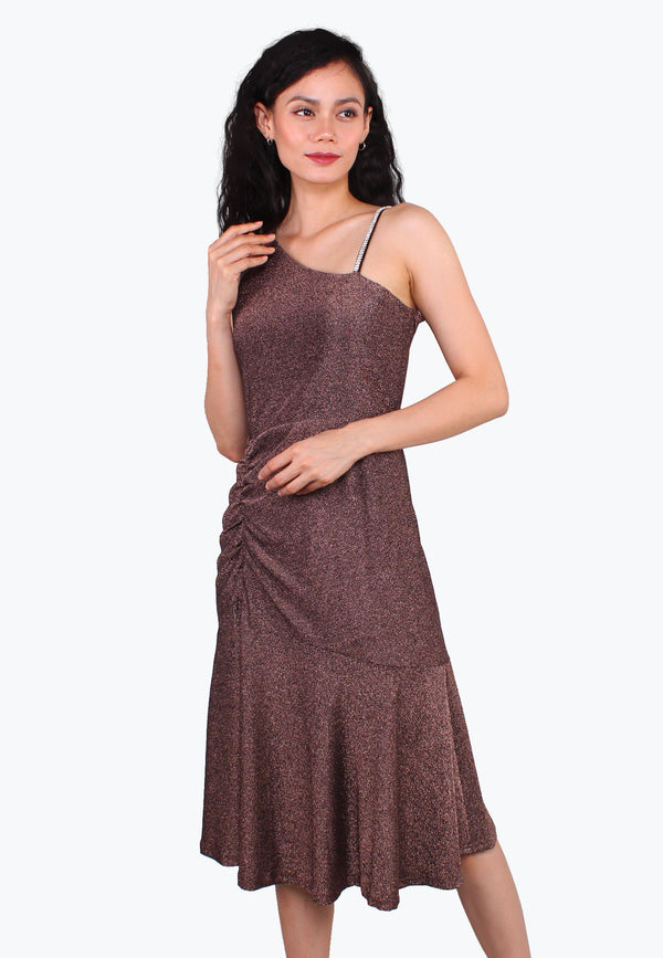 Glitter Asymmetrical Neckline Dress