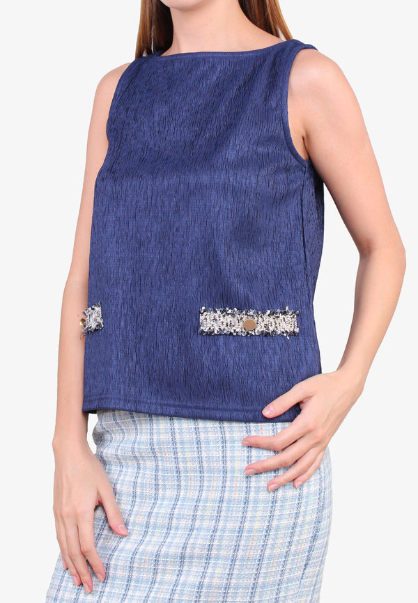 ELLE Textured Lace Trims Tank Top