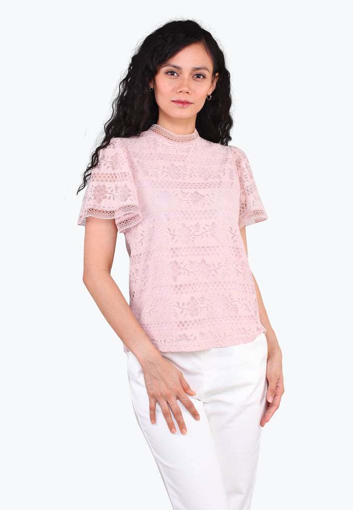 ELLE Hi-Neck Lace Top
