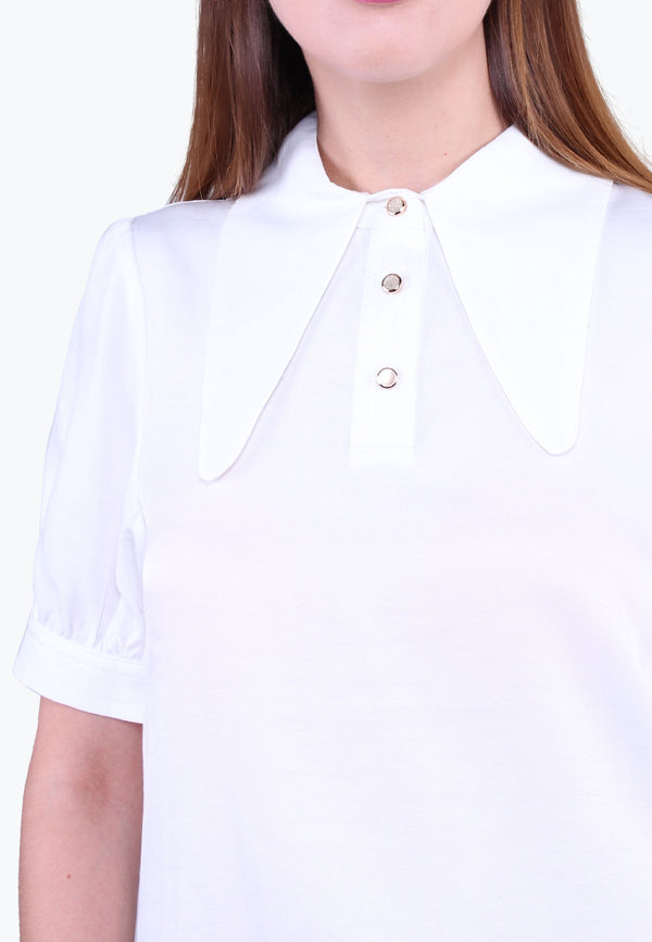 Short Sleeve Pointed Collar Blouse