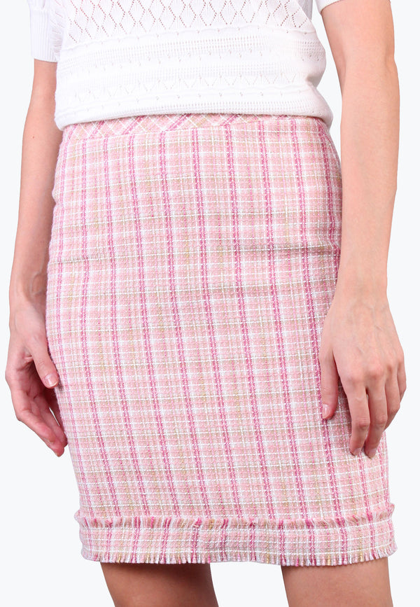 High Rise Tweed Pencil Skirt