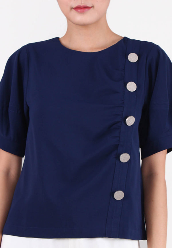 ELLE Buttons Puff Sleeve Blouse
