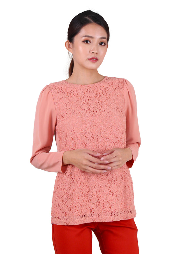 ELLE Puff Sleeves Lace Blouse