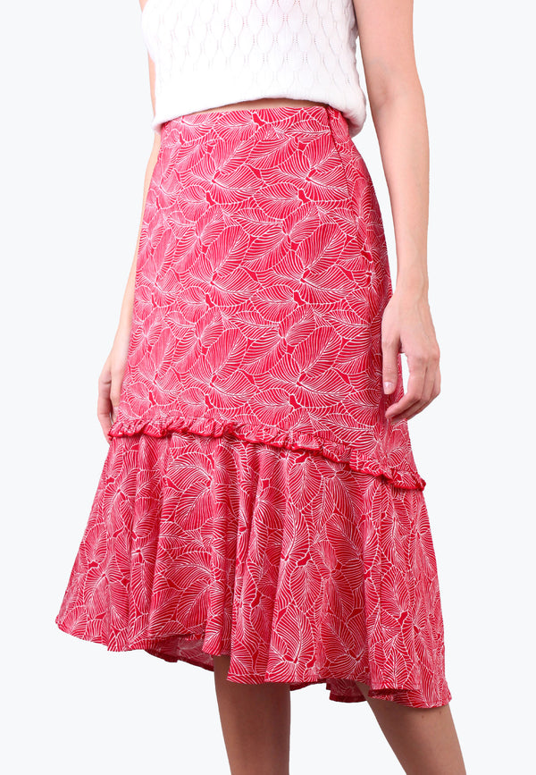Printed Hi Low Ruffle Skirt