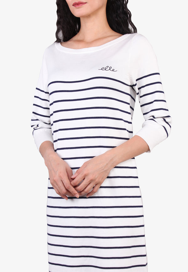 ELLE Striped Casual Knit Dress
