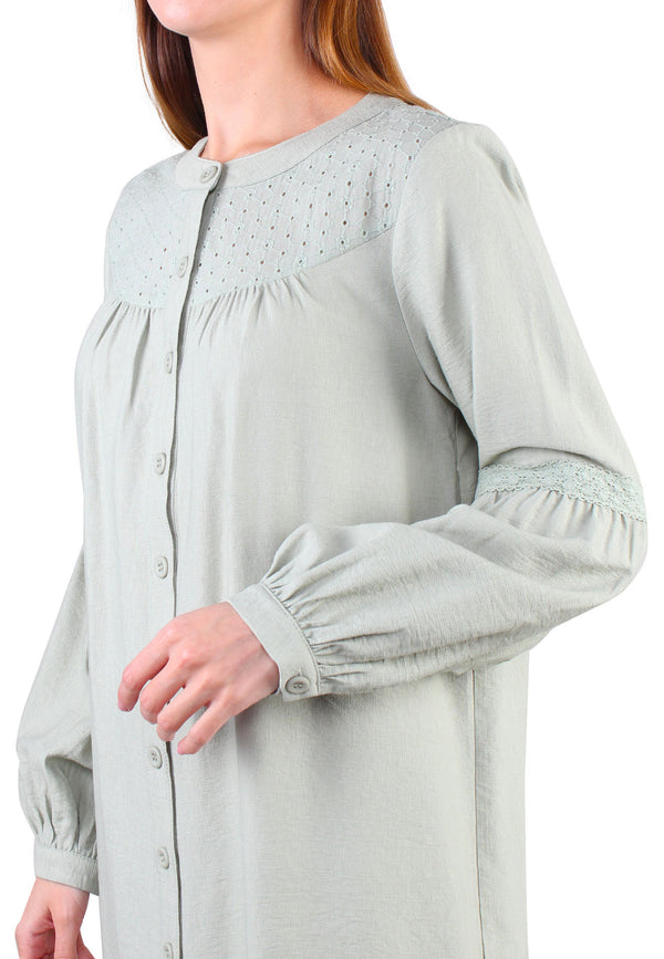 ELLE Puff Sleeve Long Tunic Blouse