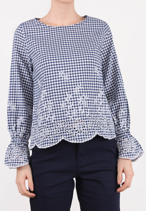 ELLE Embroidered Checker Blouse