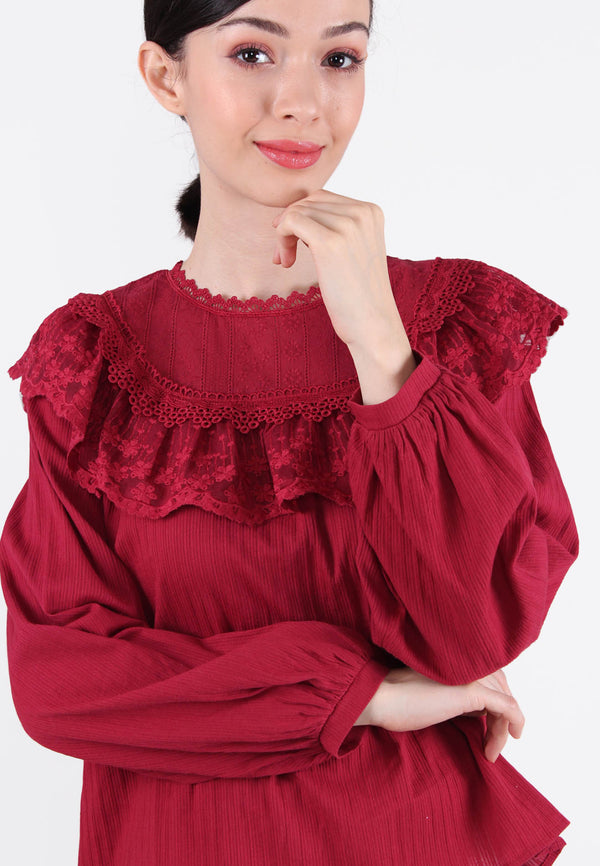 ELLE Layered Lace Long Sleeves Blouse