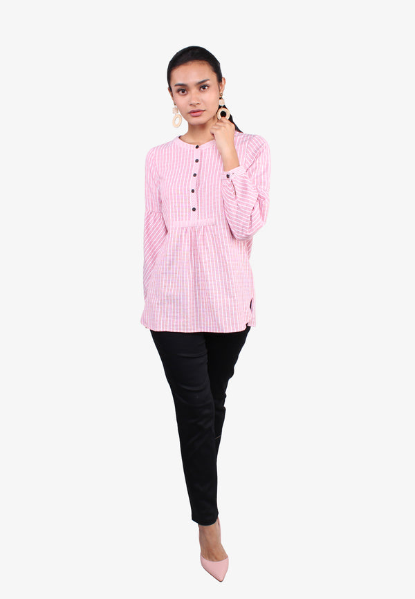 Half Placket Striped Long Sleeve Blouse