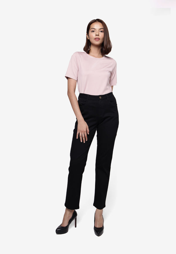#304 High Rise Slim Fit Long Pants - Black
