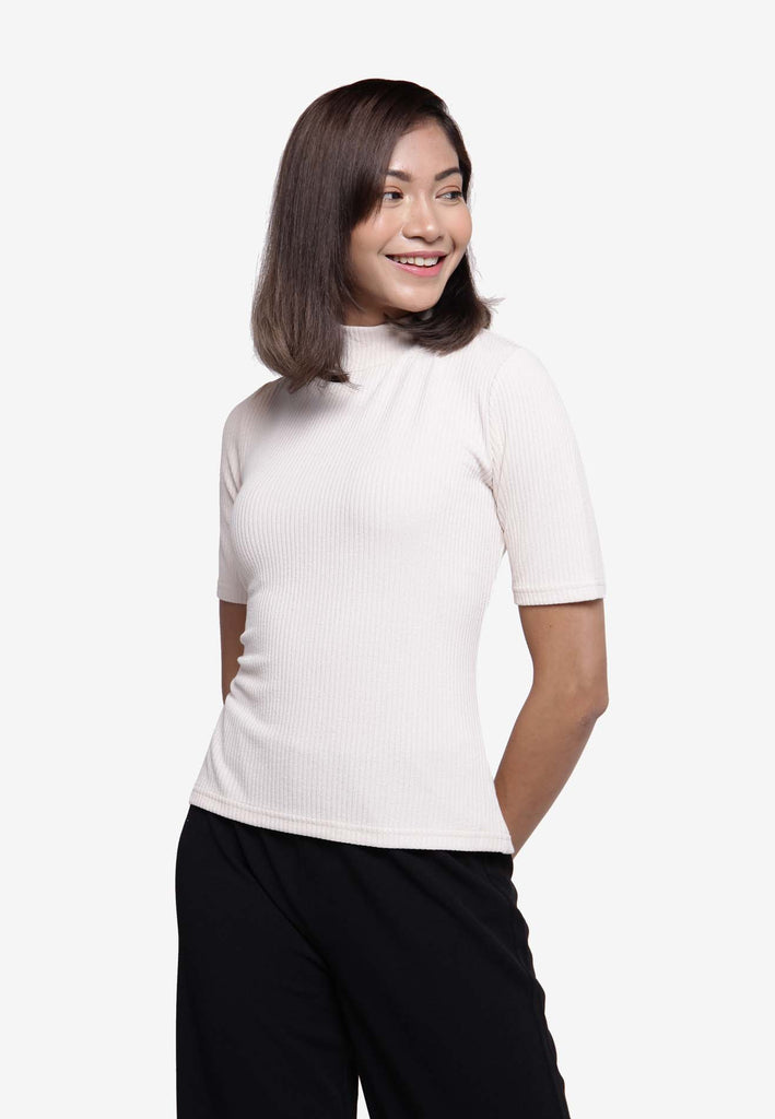 Ribbed Turtleneck Top - Beige