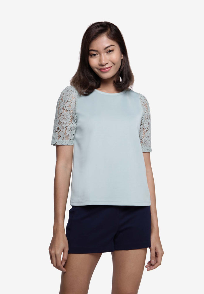 Lace Sleeve Top in Mint