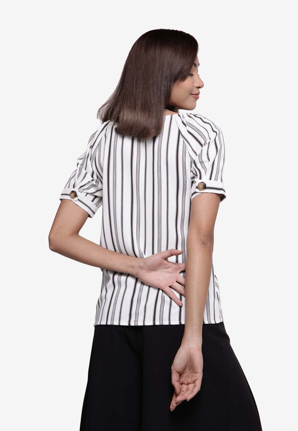 Stripe Relaxed Fit Top - White