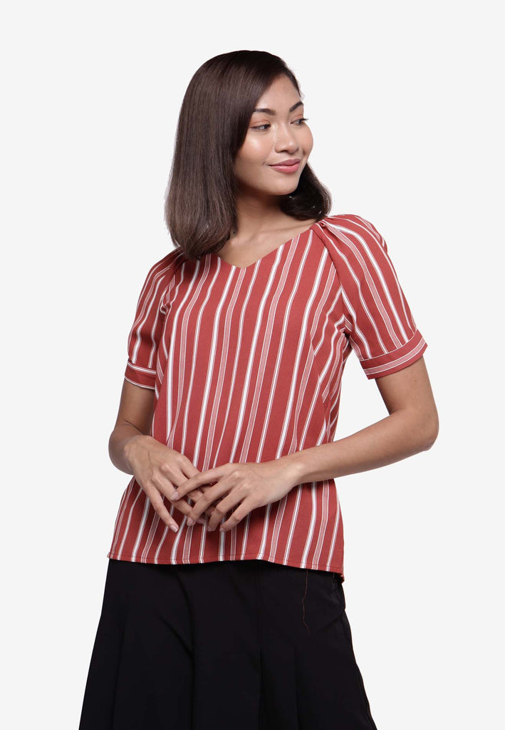 Stripe Relaxed Fit Top - Beige