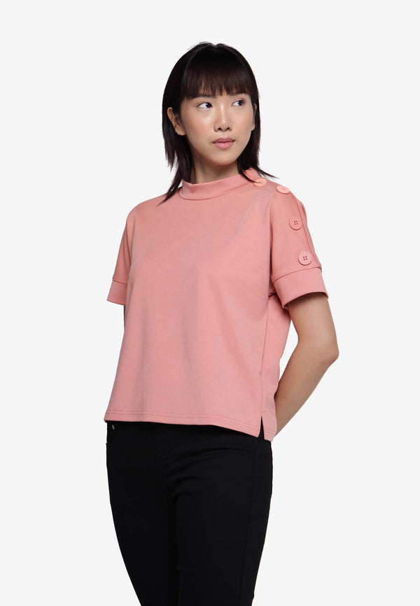 Turtle Neckline Tops - Peach
