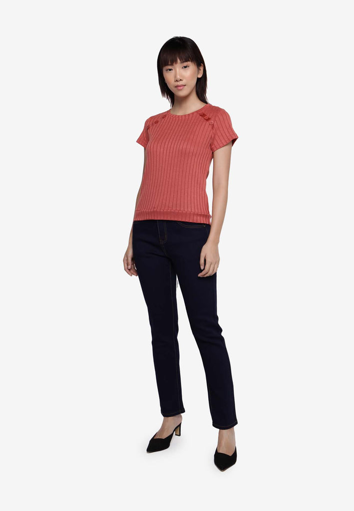 Basic Ribbed Knit Top - Peach