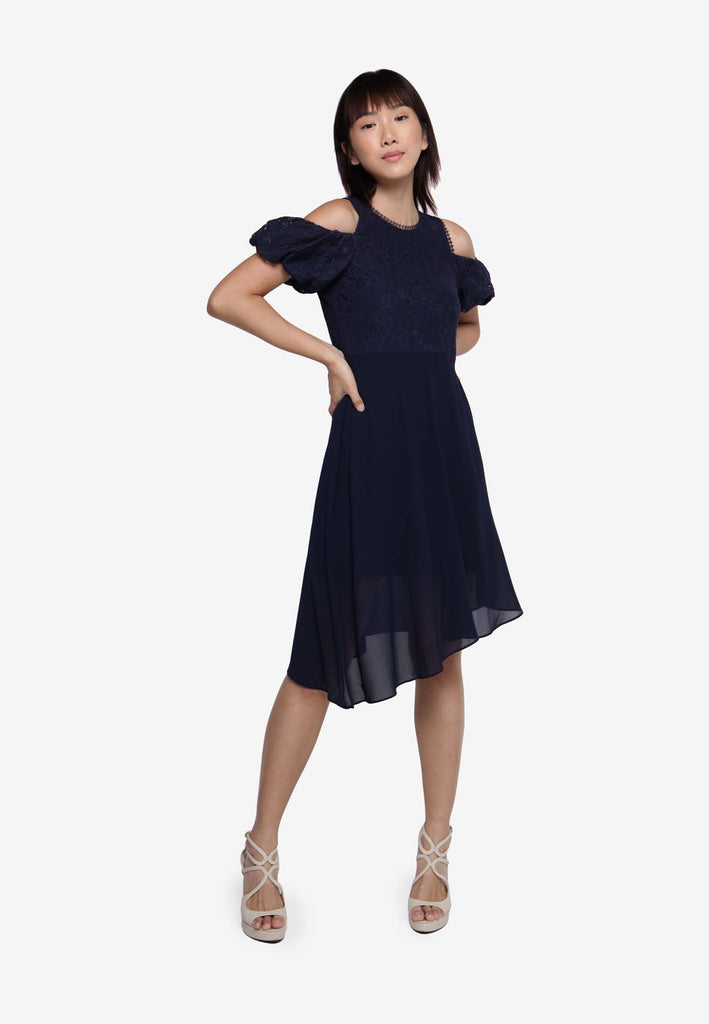 Off Shoulder Dress in Navy