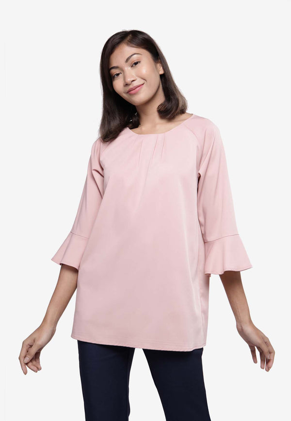 Circular Flounce Long Sleeve Top