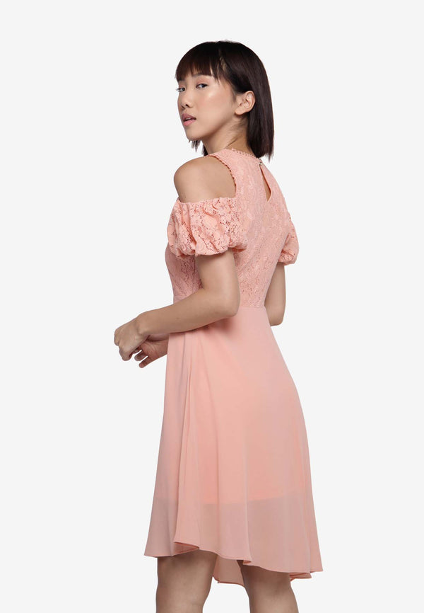 Off Shoulder Dress in Peach