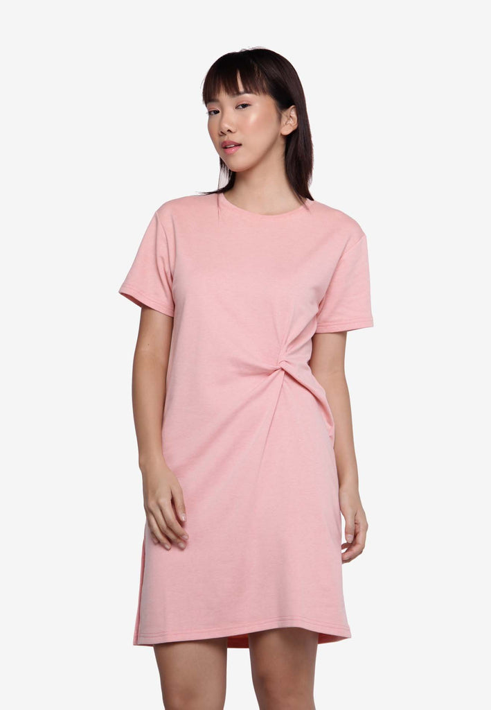 Basic Knotted Casual Dress - Pink