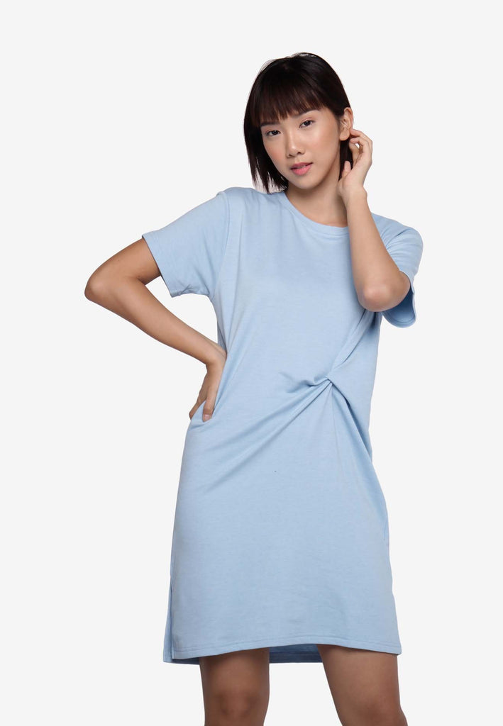 Basic Knotted Casual Dress - Blue