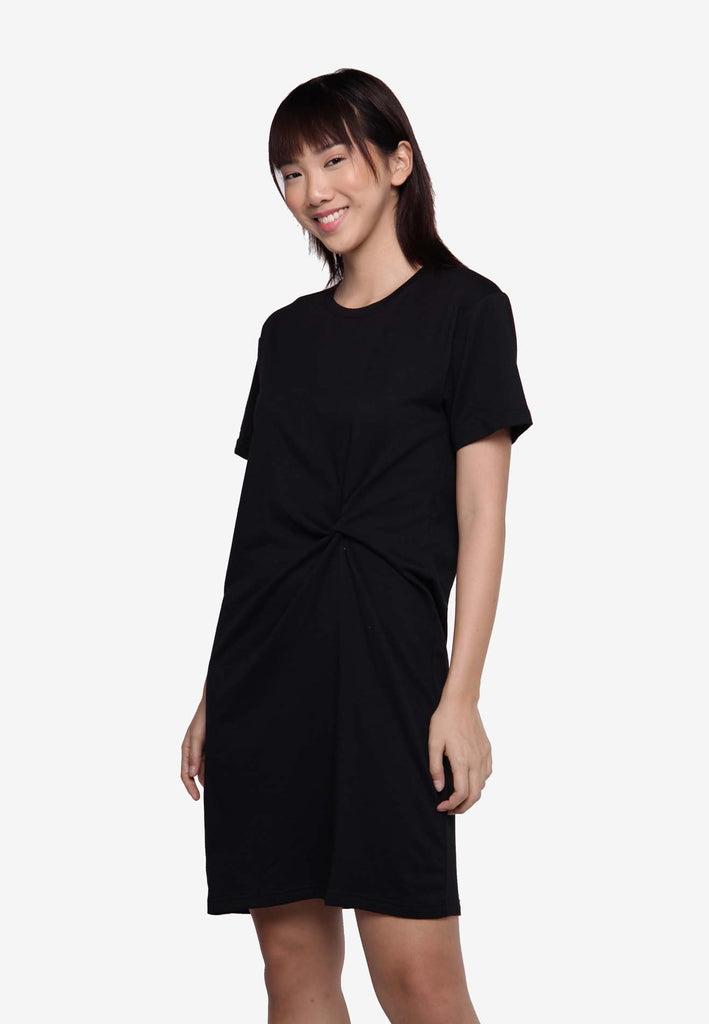 Basic Knotted Casual Dress - Black