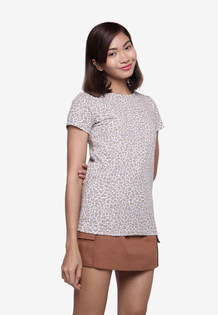 Short Sleeve Leopard Print T-Shirt