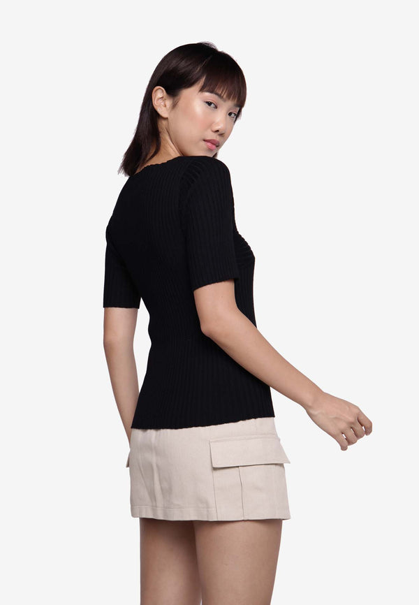 Half Sleeve Knit Top in Black