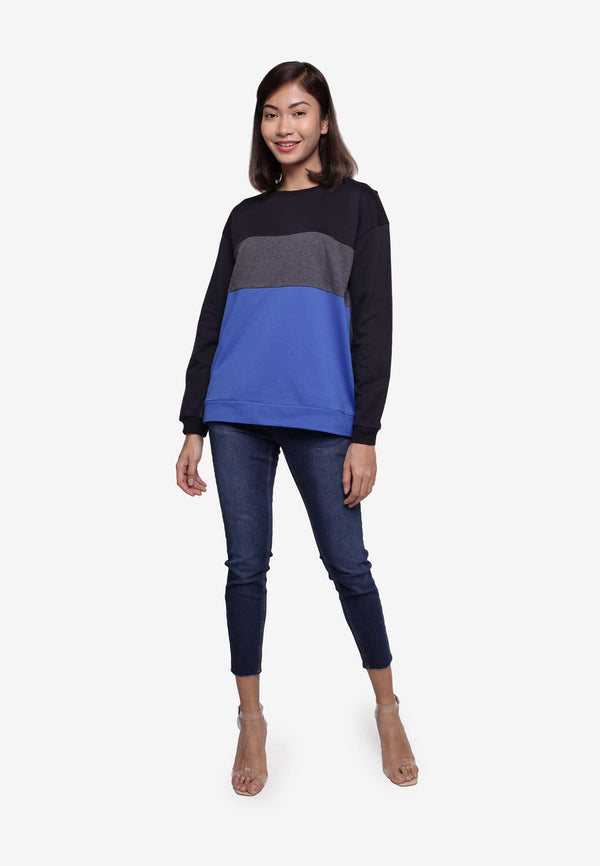 Long Sleeve Multi-Colored T-Shirt - BLUE