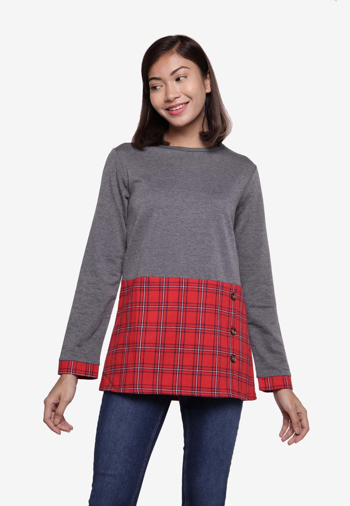 Long Sleeve in Long Top Checker Print - Grey