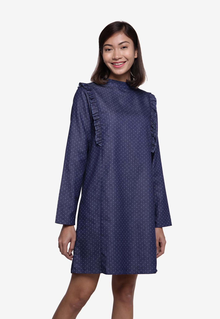 Long Sleeve Polka Dot Denim Dress/ Long Top - Dark Blue