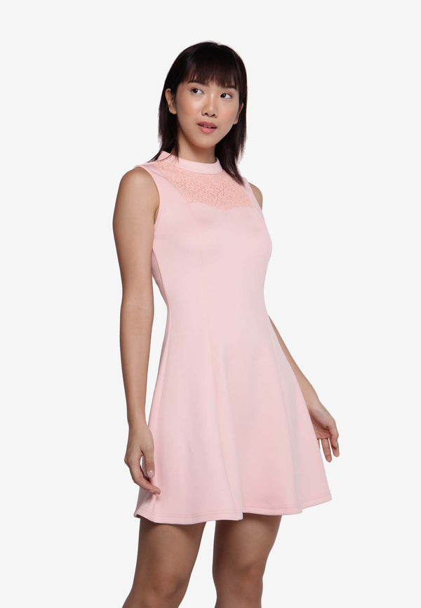 Sleeveless Skater Dress in Pink