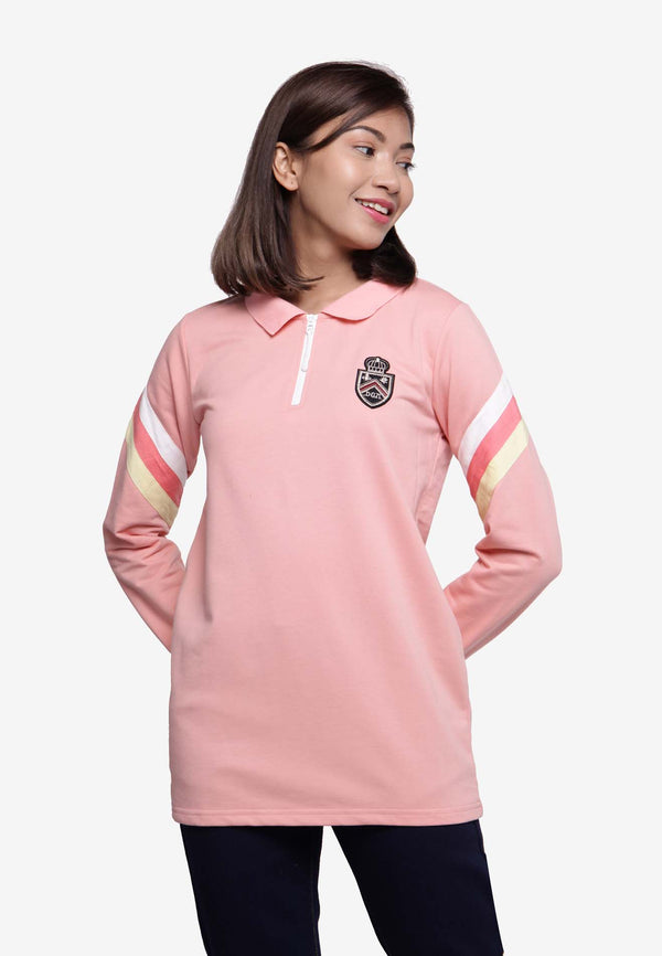 Long Sleeve Collar Zip Top - Pink