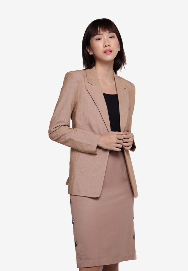 Single Breasted Blazer - L.Brown