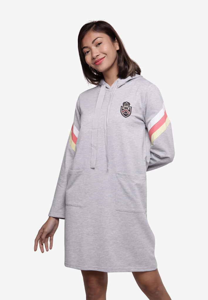 Long Sleeve Hooded Dress - Grey