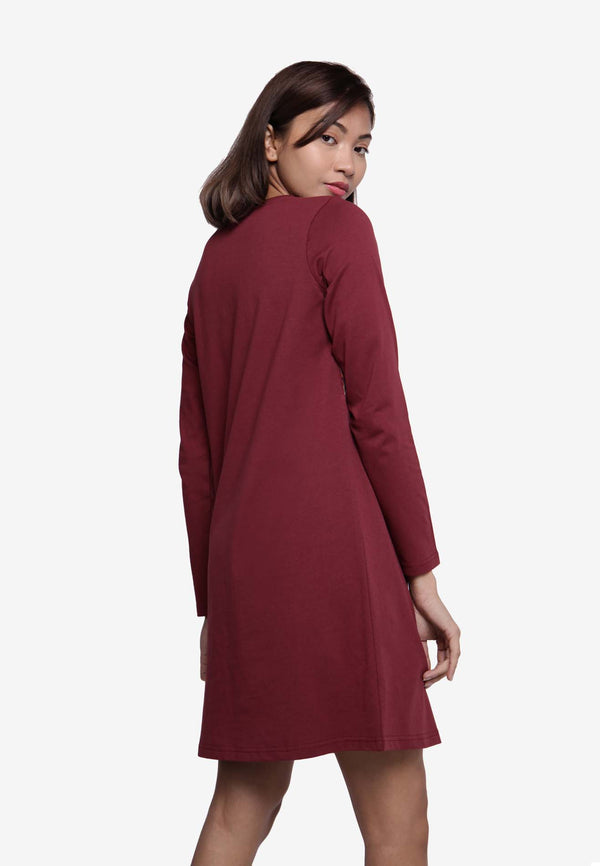 Long Sleeve in Long Top/Dress Checker Print - Maroon
