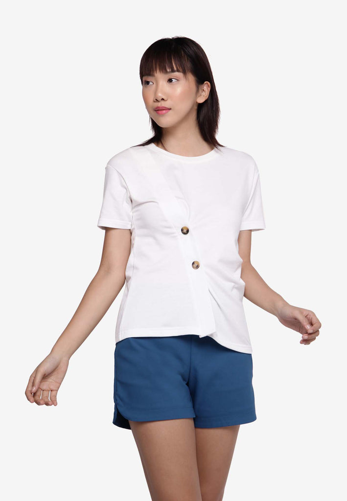 Button-On Knotted Casual Top - White