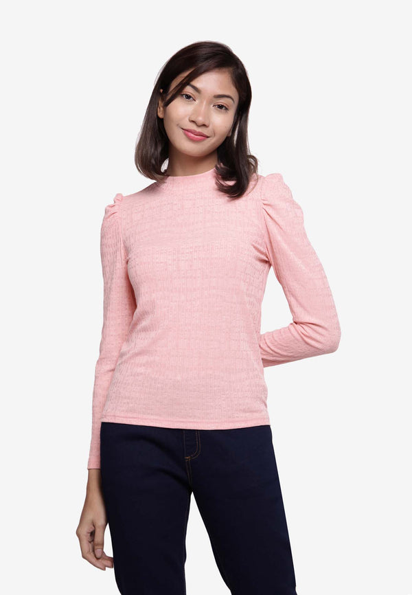 Mock Neck Long Sleeve Top - Peach